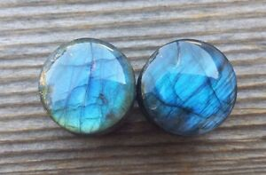 PAIR OF LABRADORITE PLUGS GAUGES BODY JEWELRY DOUBLE FLARED