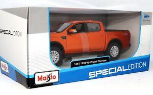 2019 Ford Ranger Orange Pickup Truck 1:27 Scale Die-cast Model Toy Car by Maisto