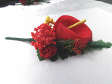 Red Calla Lily/Rose/Yellow Berries Buttonhole - Wedding  Flowers- by Valerie J