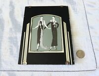 Reverse Painting Frame Glass Vintage Black Silver Mid Century Art Deco Two Women