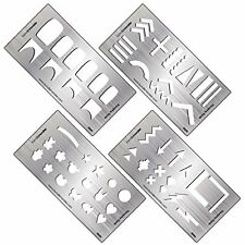 BMC 4pc DIY Decal Making Nail Stamping Metal Guide Templates