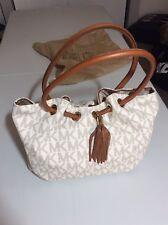 Michael Kors medium Ring Tote Tassel Handbag, cream/brown, NWT