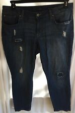 Size 18W JESSICA SIMPSON BLUE JEANS Ankle Skinny Distressed Cotton Stretch