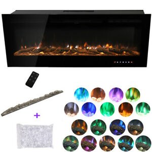 """40/50/60"""" Fireplace LED Wall Build In Insert Electric Fire 9 or 12 Colour Flames"""