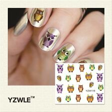 Nail Art Water Decals Stickers Transfers Decoration Owls Kawaii (YZW119)