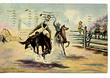 First Experience-Cowboy-Bucking Horse-Signed L H Dude Larsen Vintage Postcard