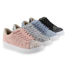 Damen Sneakers Glitzer Metallic Sportschuhe Schnürer 814556 Schuhe
