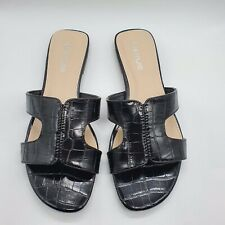 Womens Ladies Flat Slip On Mules Open Toe Sandals Comfy Summer Shoes Casual Size