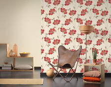 CREAM RED LILLY TRAIL FLORAL FLOWER BEIGE LEAF WALLPAPER A.S.CREATION 94429-3