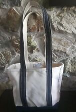 VTG LL BEAN Boat and Tote Freeport Maine classic Ivory/navy stiff canvas MINT!