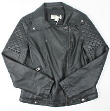 Vintage Havana Womens Quilted Vegan Jacket Leather Black L New