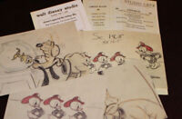 Walt Disney Studio Donald Duck Fireman Pluto Drawings Cafeteria Menu 2003 1940