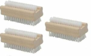2pc DOUBLE SIDED NAIL CLEANING BRUSH CLEAN RETRO SCRUBBER MANIC WOODEN SCRUBBING