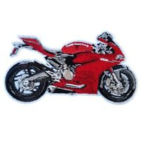 Red Super bike motorbike Iron On Patch Sew on transfer Embroidered badge New
