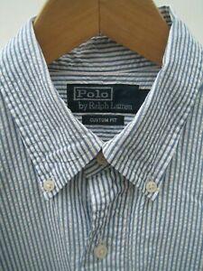 Ralph Lauren SS Blue & White Seersucker Stripe Shirt Red Pony Logo - Size Medium