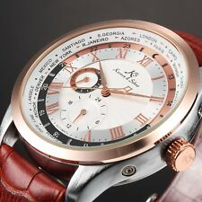 KS Men's Brown Leather Automatic Mechanical Steel Case Day Sport Wrist Watch