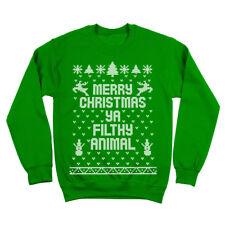 Merry Christmas Ya Filthy Animal Ugly  Sweater Green Crewneck Sweatshirt