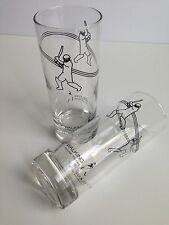 Set of 2 Johnnie Walker Hi-Ball Glass Tumblers KEEP WALKING Cricket Player RARE!