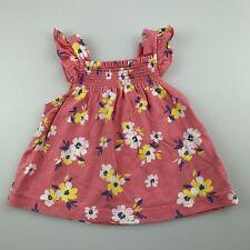 Girls size 3 months, Carter's, pink floral cotton summer top, GUC
