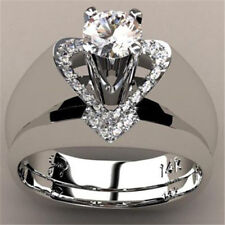 Gorgeous Women White Gold Filled White Sapphire Heart Ring Wedding Jewelry 6-10