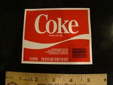 Coca Cola Coke unused rare 1 liter bottle label