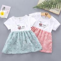 Hot Toddler Baby Kids Girls Summer Dress Cat Print Flower Dress Princess Dresses