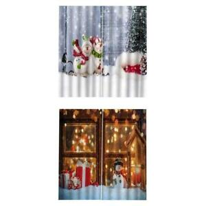 200x140cm Christmas Curtains Waterproof Xmas Snowman 4Panels Drapes