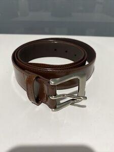 "Lee Men Genuine Leather Brown Belt 42""/107cm Silver Buckle"