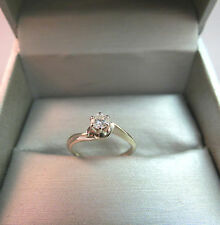 14k White Gold Diamond Solitaire Wedding Engagement Ring .20ct Vintage 1.83 Gram