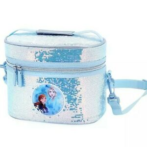 Disney Authentic Frozen2 Anna & Elsa Sequin Holographic Lunch Box Tote Bag NWT