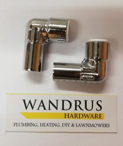 15mm Pair of 15mm Radiator Chrome Elbow Pushfit TRV Valve - 15mm to 10mm Reducer