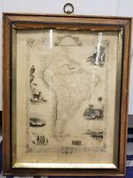 c1850 Antique Map of SOUTH AMERICA by Tallis & Rapkin Original Hand-Colored Map