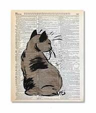 Japanese Bobtail Cat Upcycled Vintage Dictionary Art Print 8x10 Unframed