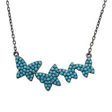 Turquoise Stones Butterflies Pendant Sterling Silver Necklace w/ Graduated