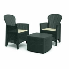 Set salottino in resina effetto rattan 2 poltrone con cuscini tavolino TREC08AN
