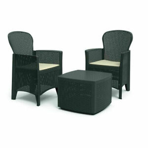 Set salottino in resina effetto rattan 2 poltrone con cuscini tavolino TREC08AN