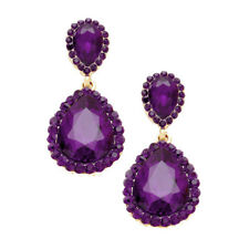 Purple diamante earrings sparkly bling prom party rhinestone dangly bridal 392