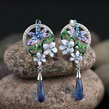 925 Silver Earrings Sets Dragonfly Pendant Necklace Enamel Flowers Ring Jewelry