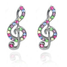 Music Note Treble Clef  Multi Color Crystal Stud Post Earrings Gift for Musician