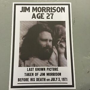 JIM MORRISON THE DOORS - A3 SIZE POSTER LAST KNOW PICTURE TAKEN AGE 27