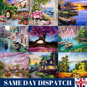 Oil Painting By Numbers Kit Craft DIY Paint On Canvas Frameless Flowers Scenery