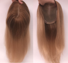 "Custom-Brown ombre blonde 100% human hair free part topper hairpiece 16"", 5""x6"""