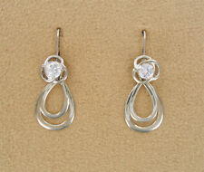 Earring set 4 piece Silver Loop Jackets CZ  Posts  Dangles and Convertiblezs