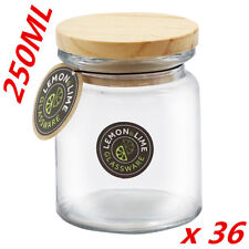 36 X Round Glass Jars BULK 250ml Food Storage Jar Canister Container Wooden Lid