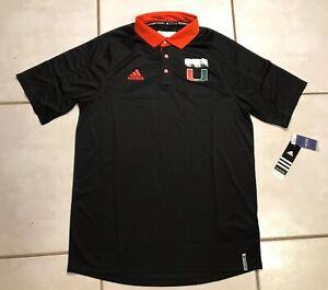 NWT ADIDAS Climachill Miami Hurricanes BLACK Polo Shirt Men's Large Tall