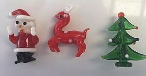 gel candle wax EMBEDS Glass father CHRISTMAS tree  reindeer Santa claus soap