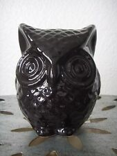 Black OWL Ceramic Coin Bank Anthropologie Home Decor Gloss Paint Piggy Folk Art