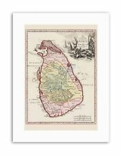 BALDA RELANDI MAP CEYLON SRI LANKA ONLY Poster Canvas art Prints