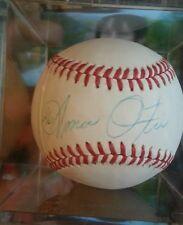 Amos Otis signed autographed baseball w/ball cube