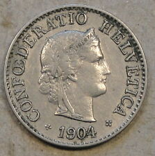 Switzerland 1904-B Five Rappen Mid-Better Grade Coin as Pictured